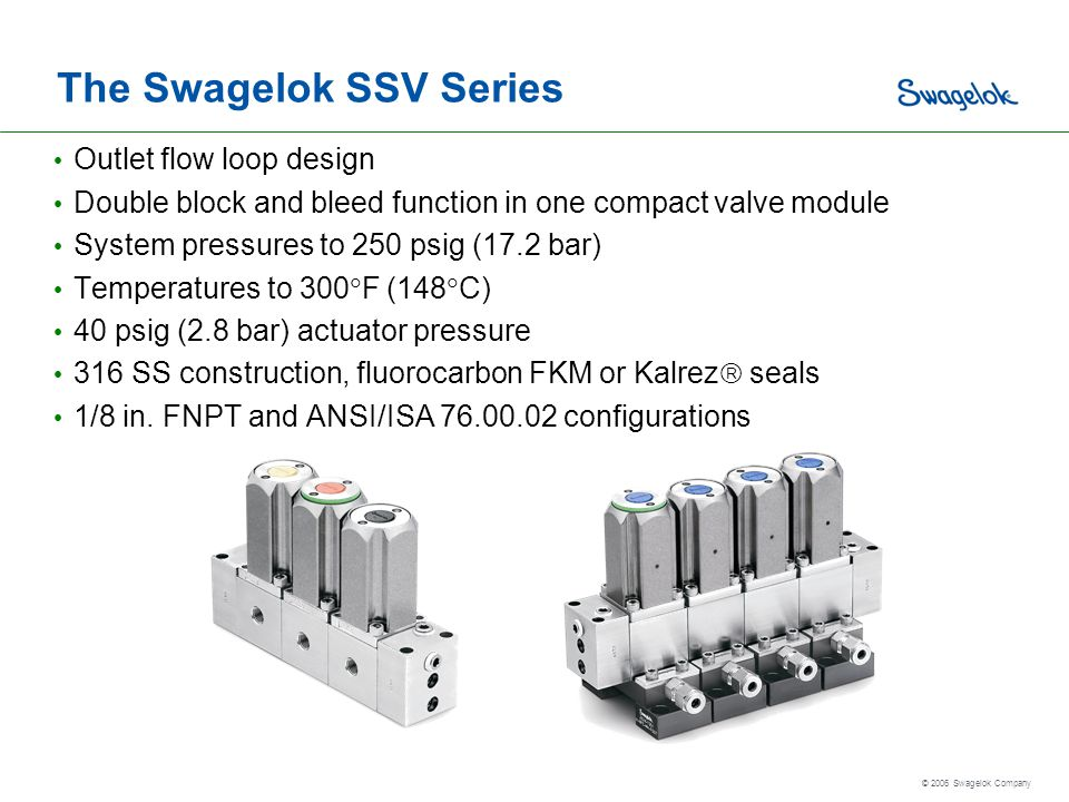 The Swagelok SSV Series