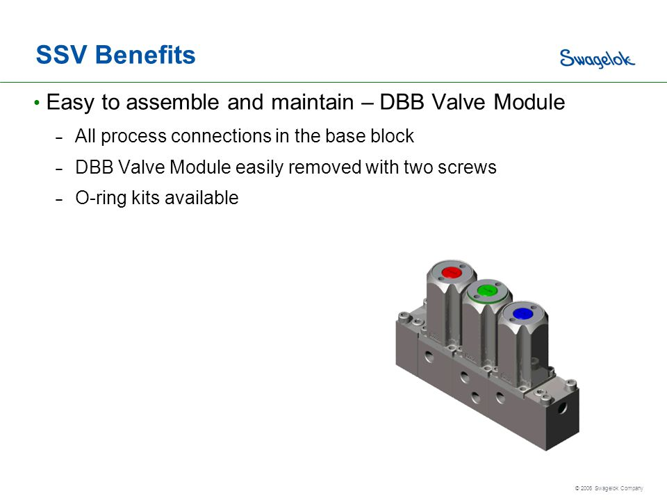 SSV Benefits Easy to assemble and maintain – DBB Valve Module