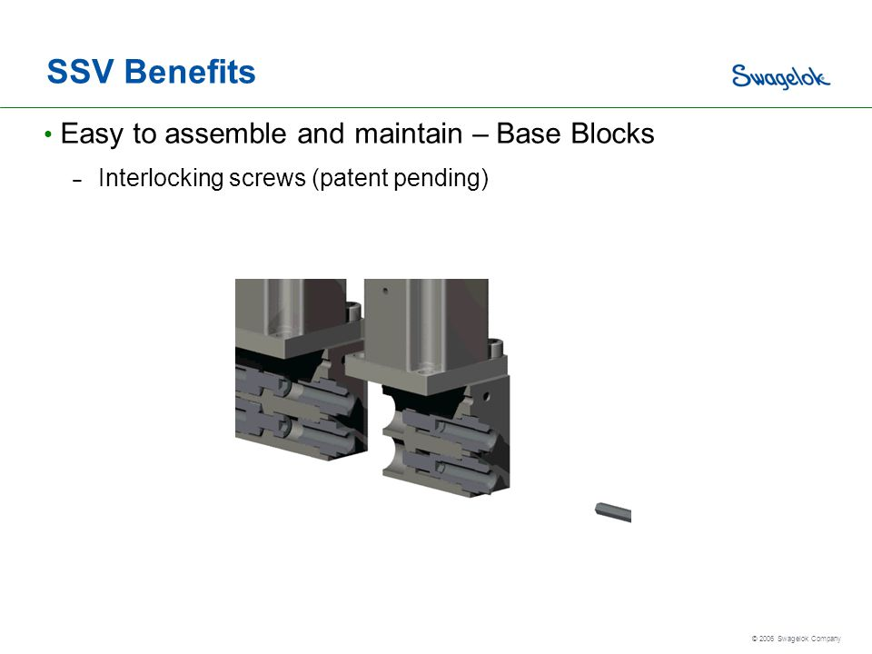 SSV Benefits Easy to assemble and maintain – Base Blocks