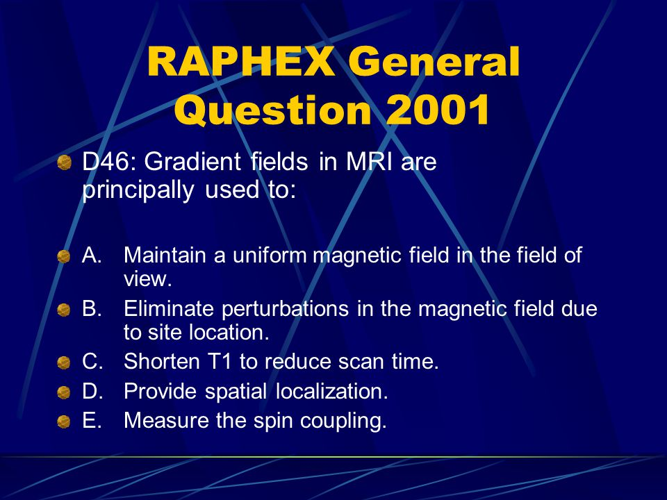 RAPHEX General Question 2001