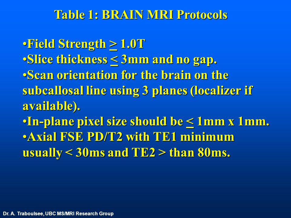 Table 1: BRAIN MRI Protocols