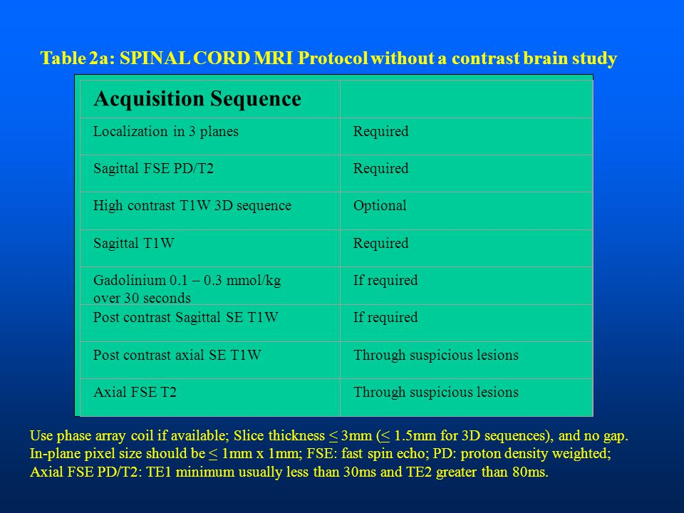 Table 2a: SPINAL CORD MRI Protocol without a contrast brain study