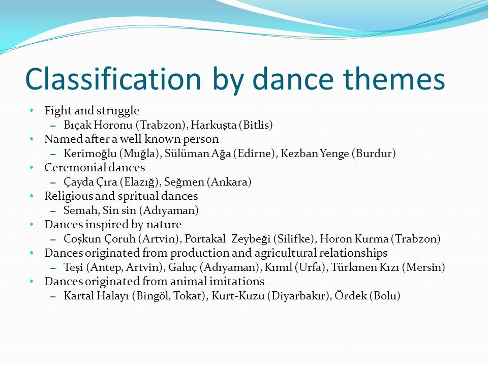 Classification by dance themes