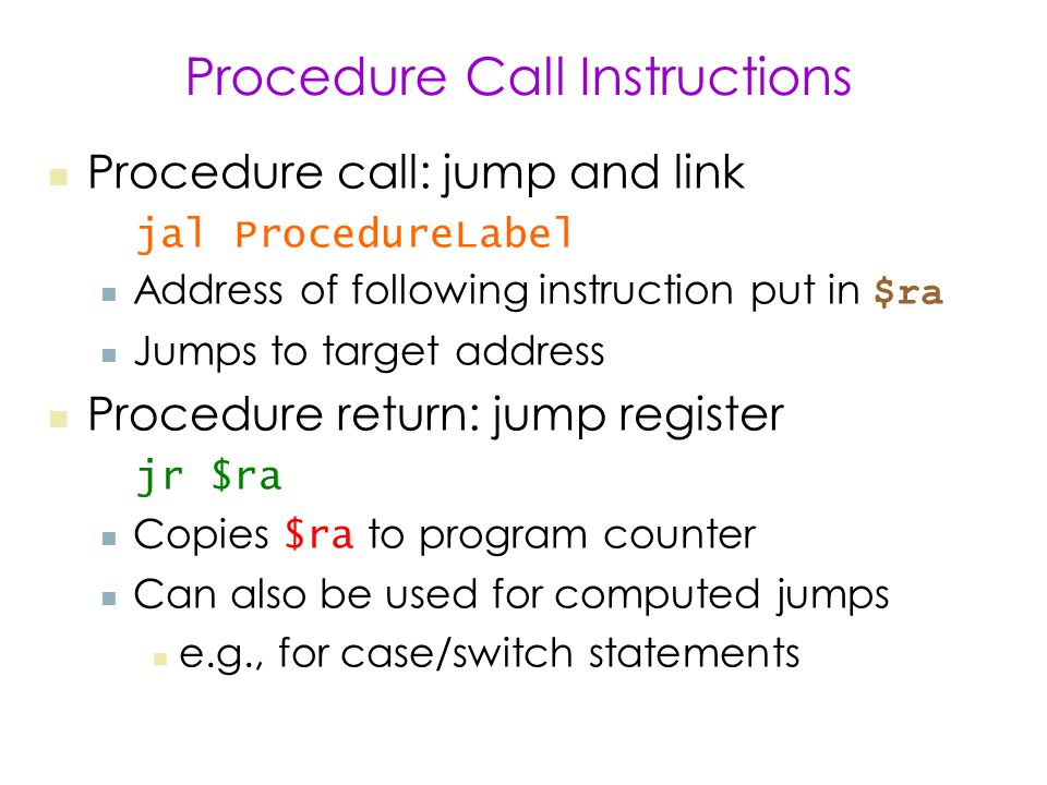 Procedure Call Instructions