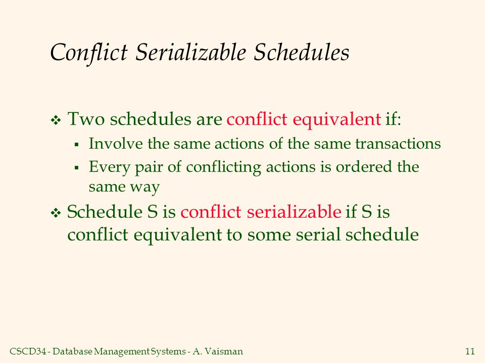 Conflict Serializable Schedules