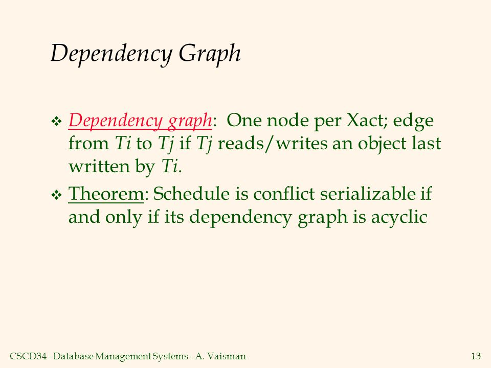 Dependency Graph Dependency graph: One node per Xact; edge from Ti to Tj if Tj reads/writes an object last written by Ti.