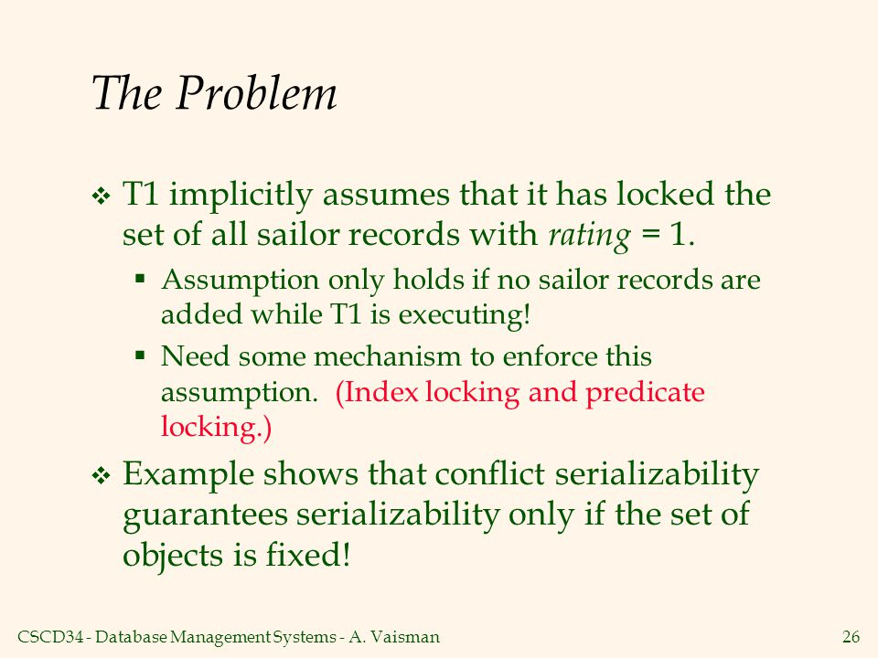 The Problem T1 implicitly assumes that it has locked the set of all sailor records with rating = 1.