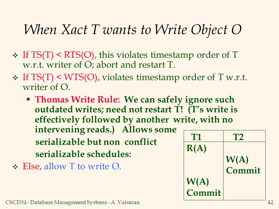 When Xact T wants to Write Object O
