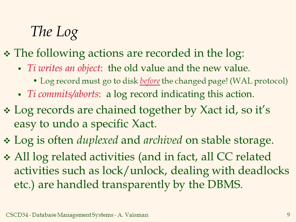 The Log The following actions are recorded in the log: