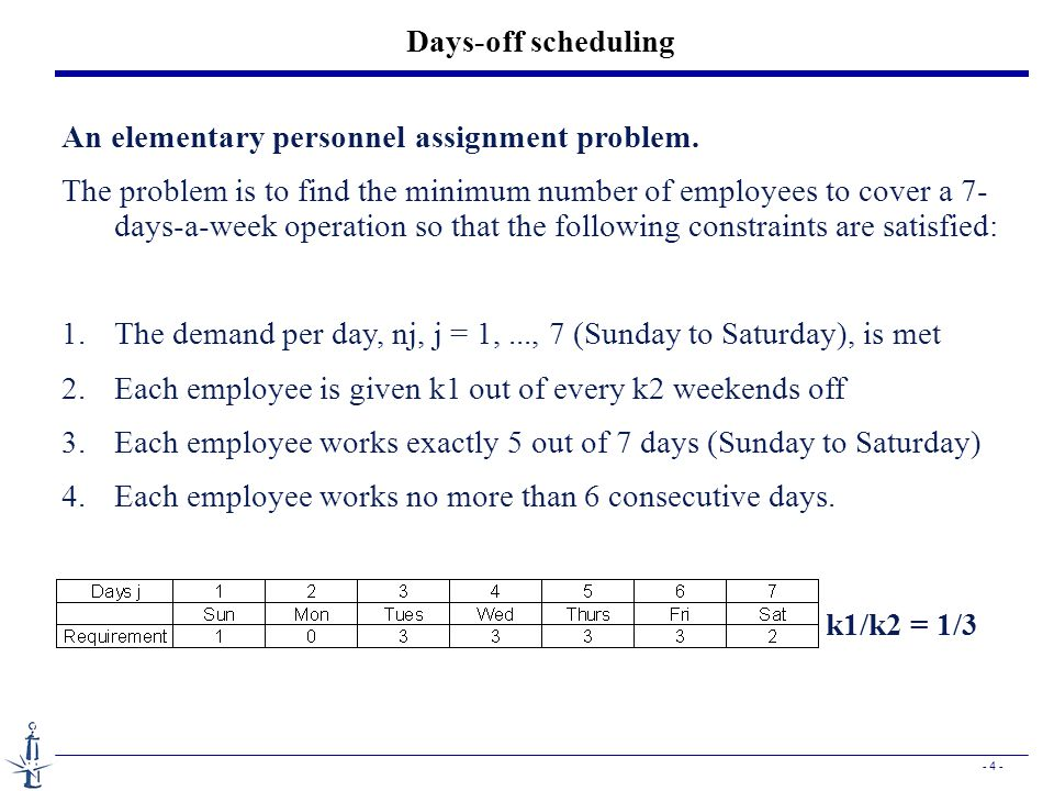 Days-off scheduling An elementary personnel assignment problem.