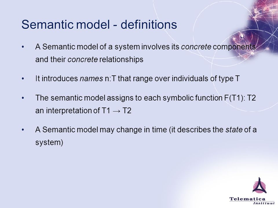Semantic model - definitions