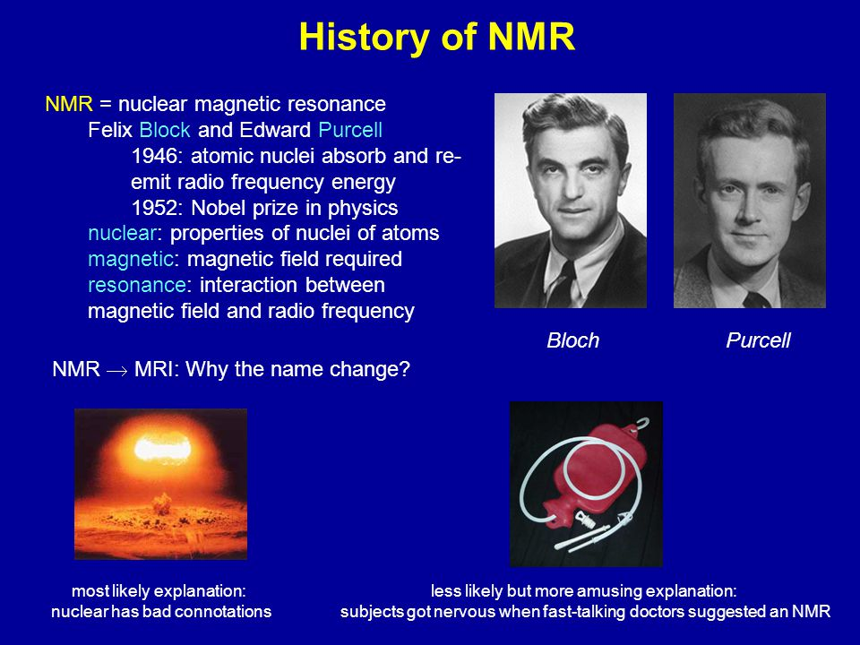 History of NMR NMR = nuclear magnetic resonance