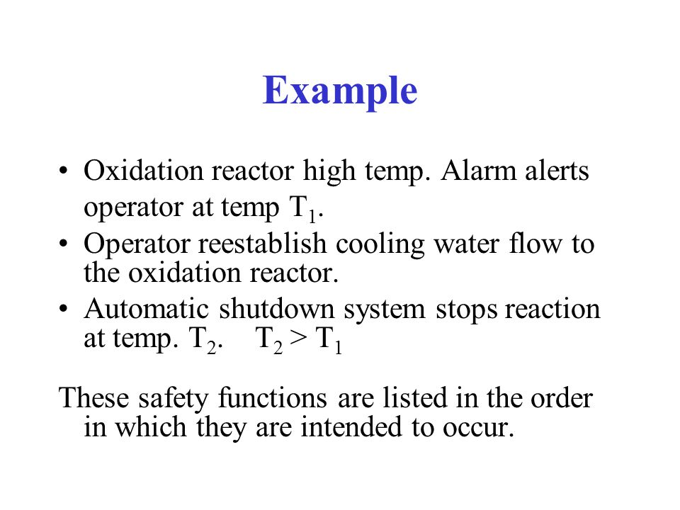 Example Oxidation reactor high temp. Alarm alerts operator at temp T1.