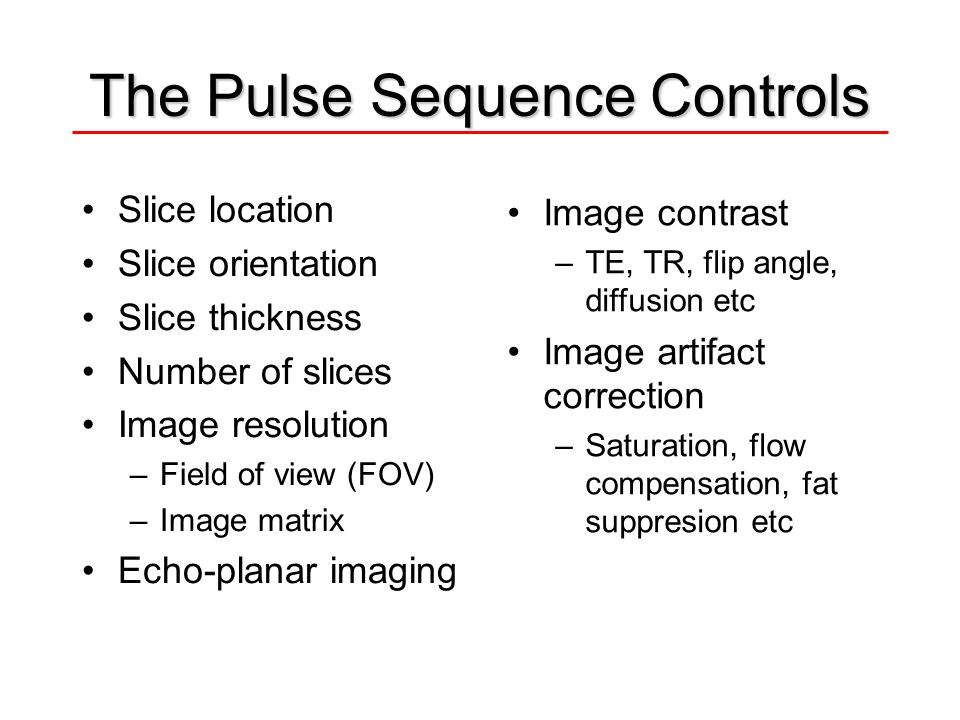 The Pulse Sequence Controls