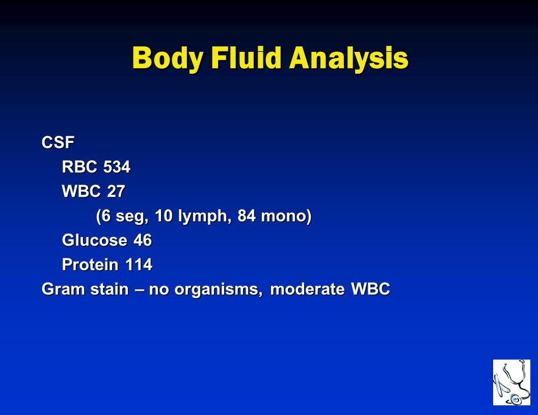 Body Fluid Analysis CSF RBC 534 WBC 27 (6 seg, 10 lymph, 84 mono)