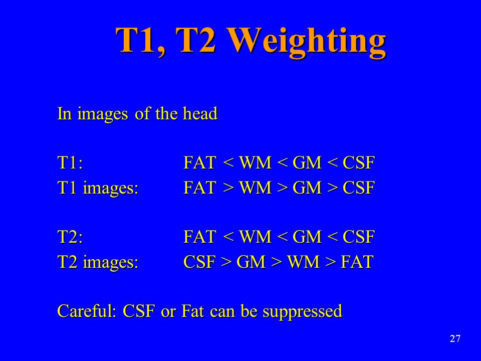 T1, T2 Weighting In images of the head