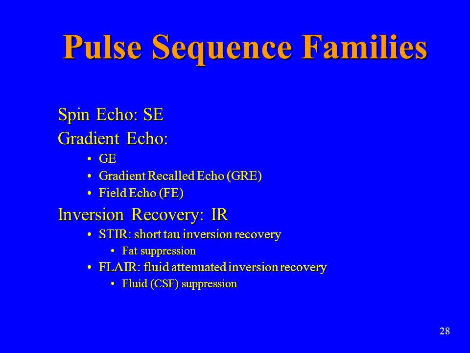 Pulse Sequence Families