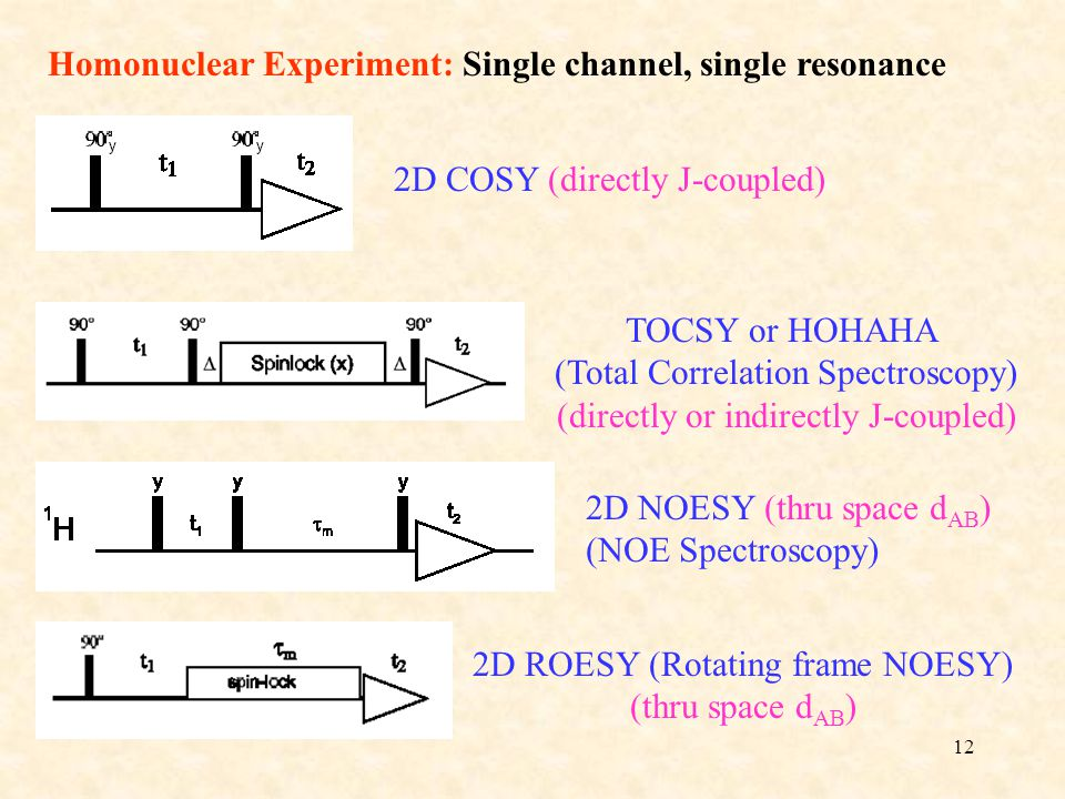 Homonuclear Experiment: Single channel, single resonance