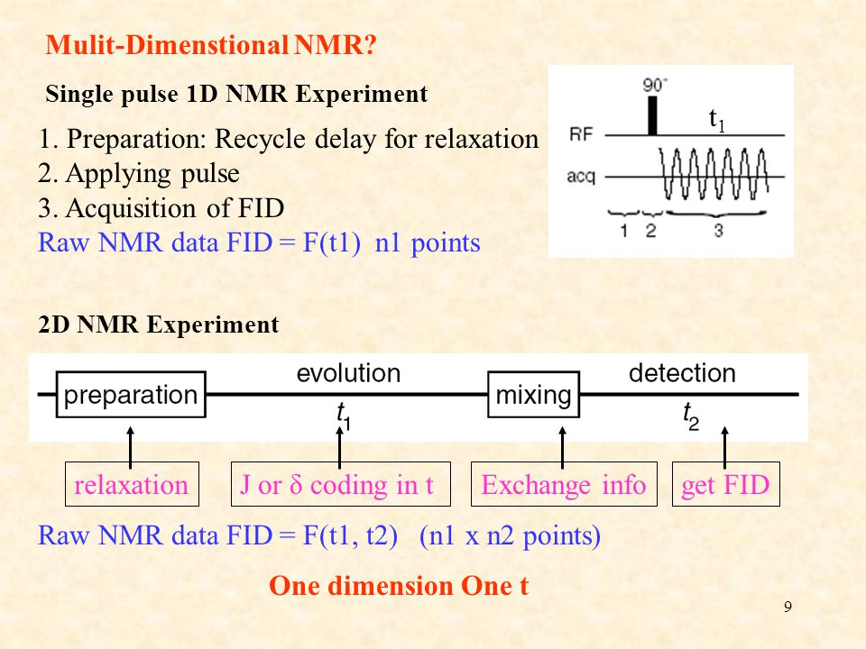 Raw NMR data FID = F(t1, t2) (n1 x n2 points)