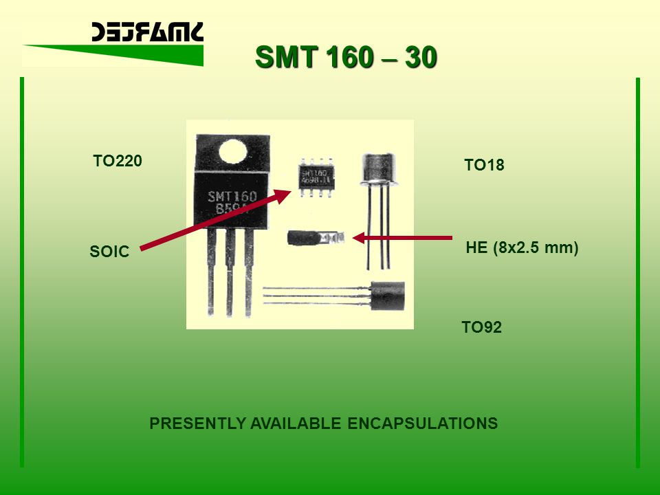 SMT 160 – 30 TO220 TO18 HE (8x2.5 mm) SOIC TO92