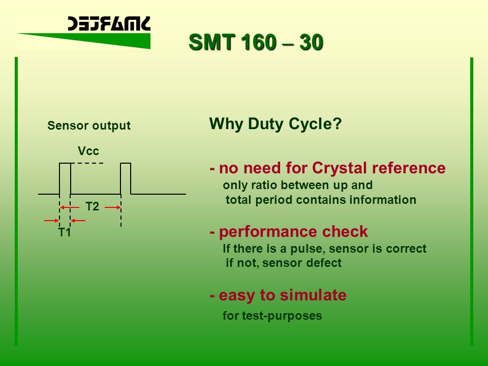 SMT 160 – 30 Why Duty Cycle - no need for Crystal reference