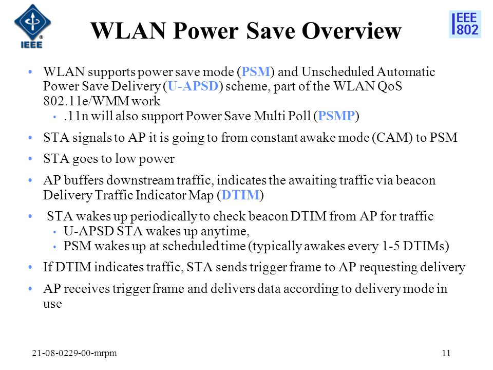 WLAN Power Save Overview