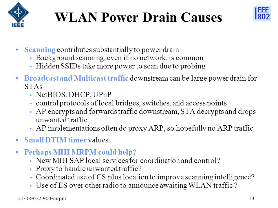 WLAN Power Drain Causes