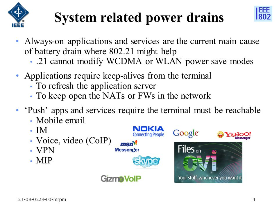 System related power drains