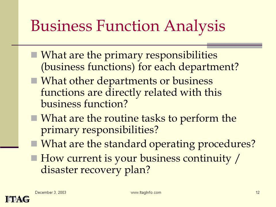Business Function Analysis