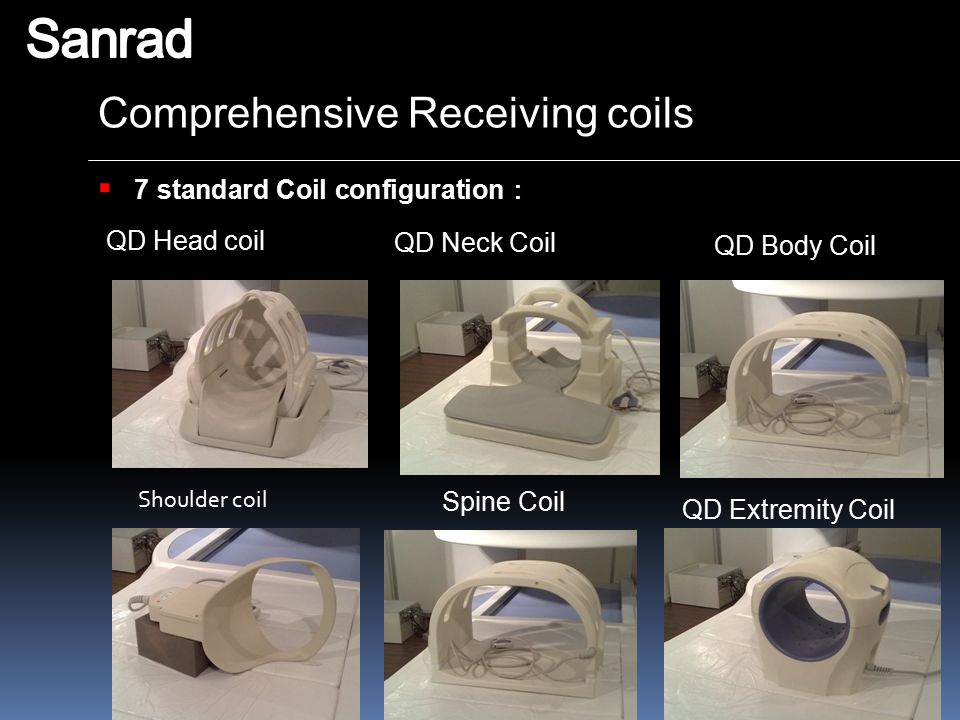 Sanrad Comprehensive Receiving coils 7 standard Coil configuration: