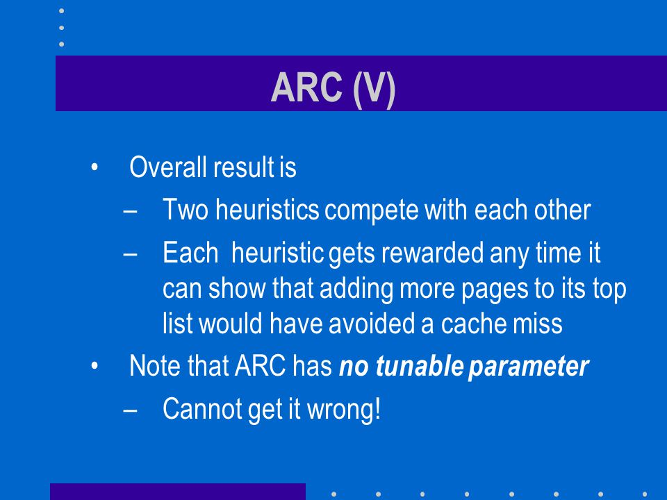 ARC (V) Overall result is Two heuristics compete with each other