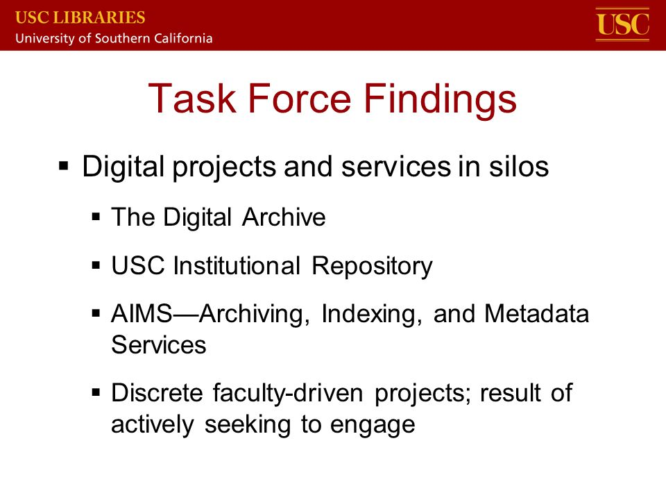 Task Force Findings Digital projects and services in silos