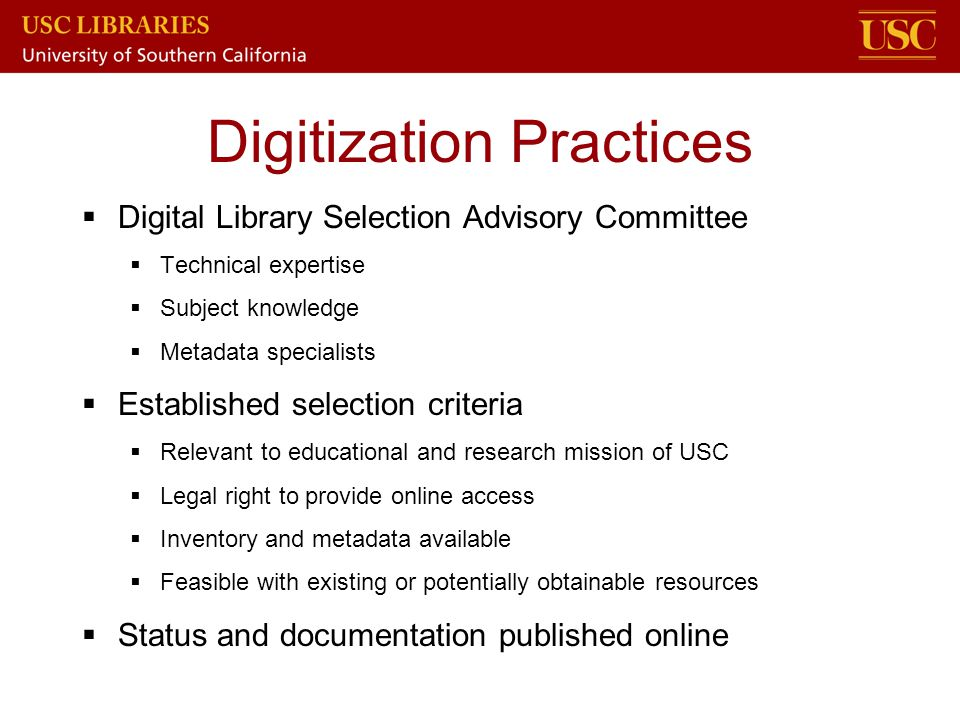 Digitization Practices