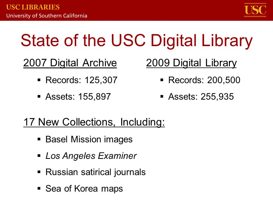 State of the USC Digital Library