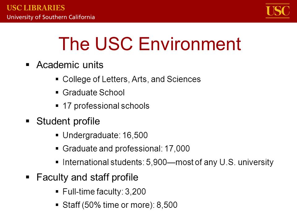 The USC Environment Academic units Student profile