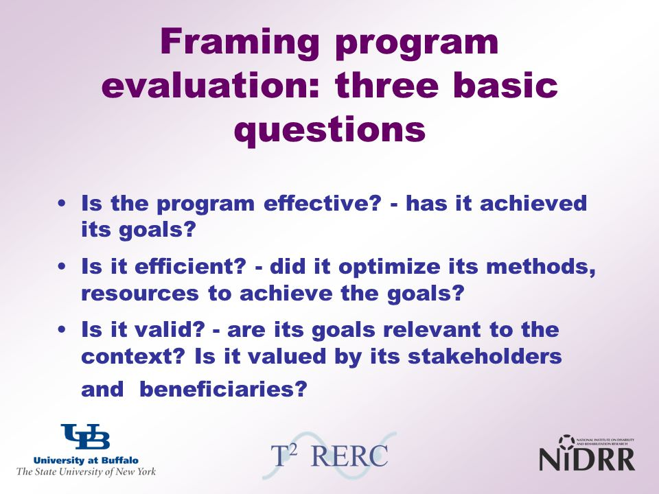 Framing program evaluation: three basic questions
