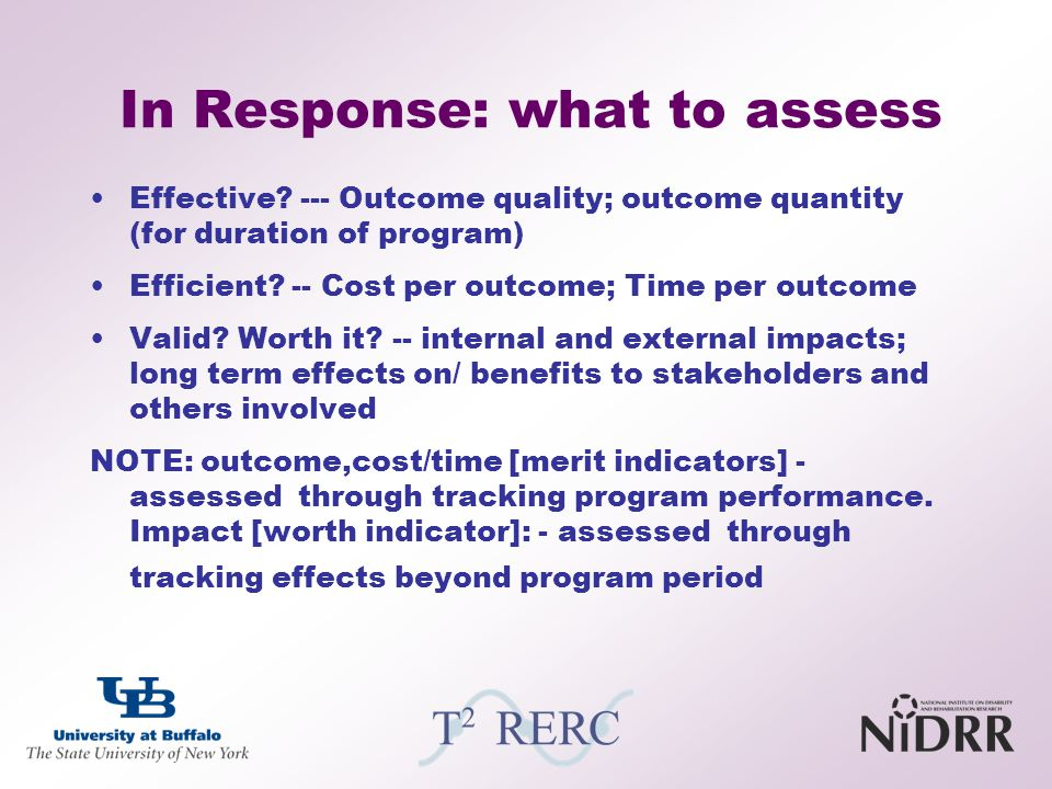 In Response: what to assess