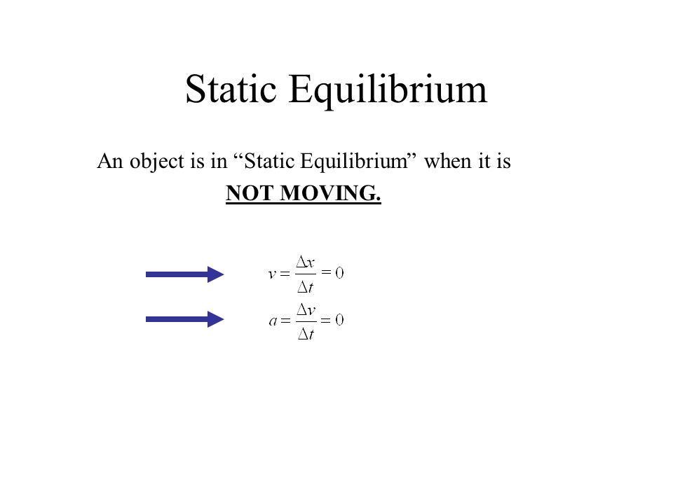 An object is in Static Equilibrium when it is