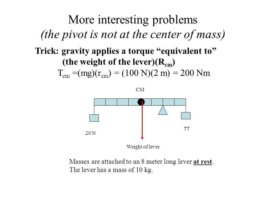 More interesting problems (the pivot is not at the center of mass)