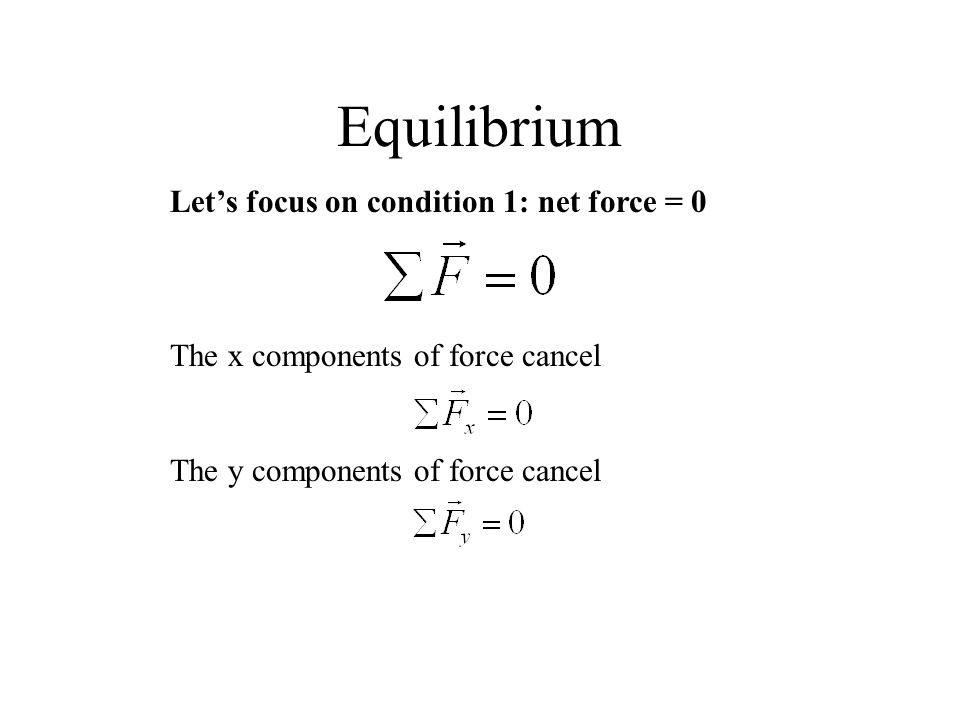 Equilibrium Let's focus on condition 1: net force = 0