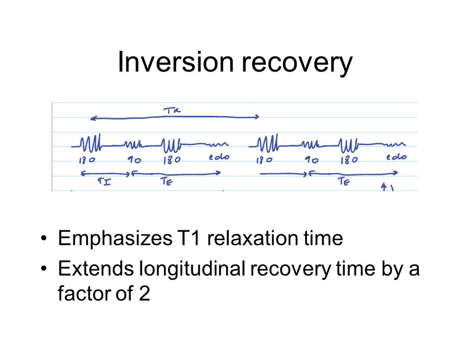 Inversion recovery Emphasizes T1 relaxation time