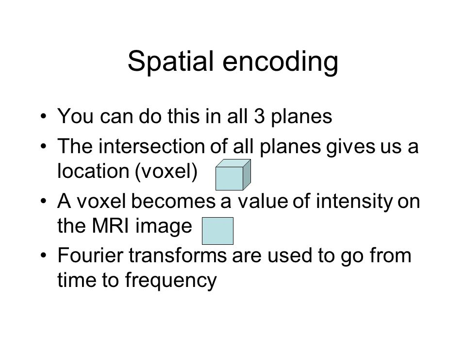 Spatial encoding You can do this in all 3 planes