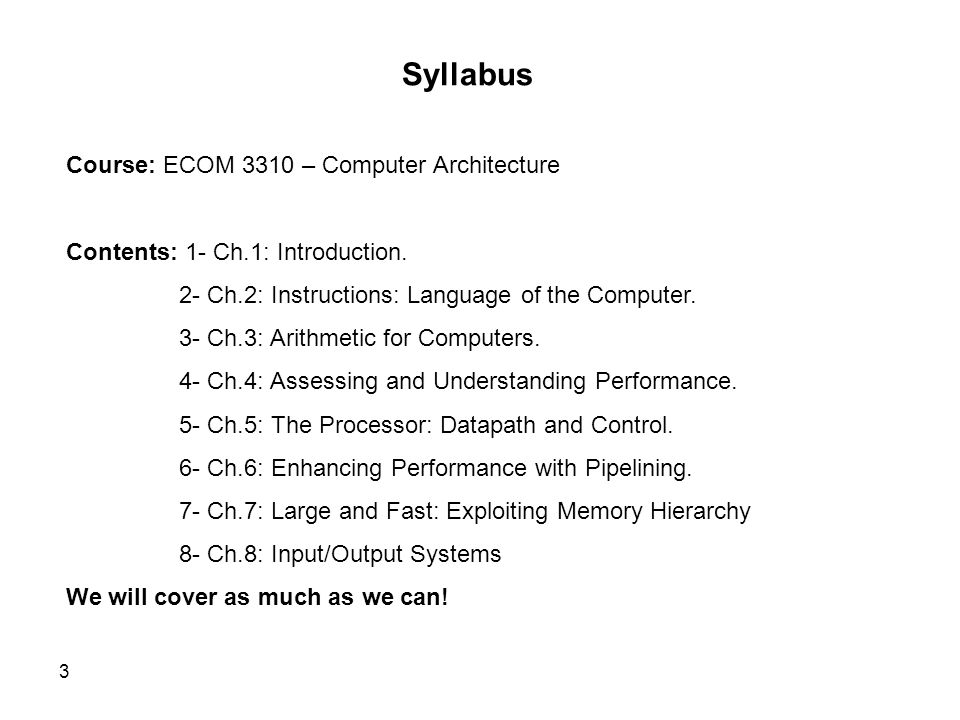 Syllabus Course: ECOM 3310 – Computer Architecture
