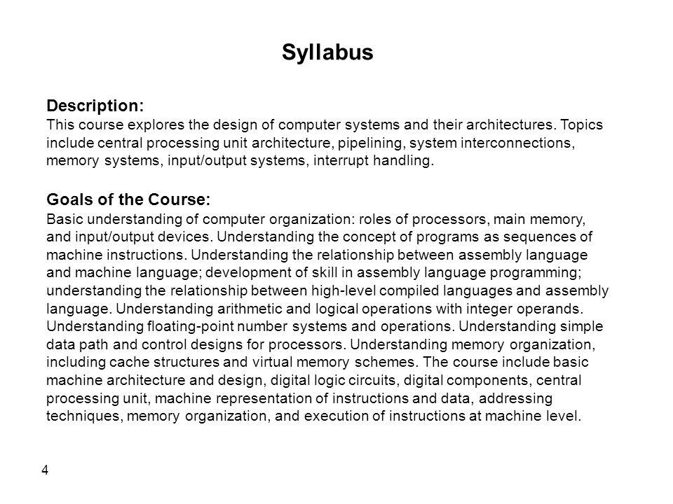 Syllabus Description: Goals of the Course: