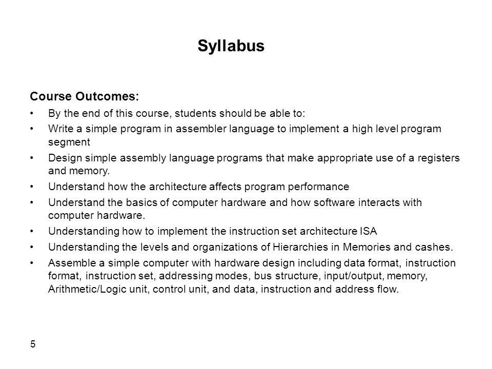 Syllabus Course Outcomes: