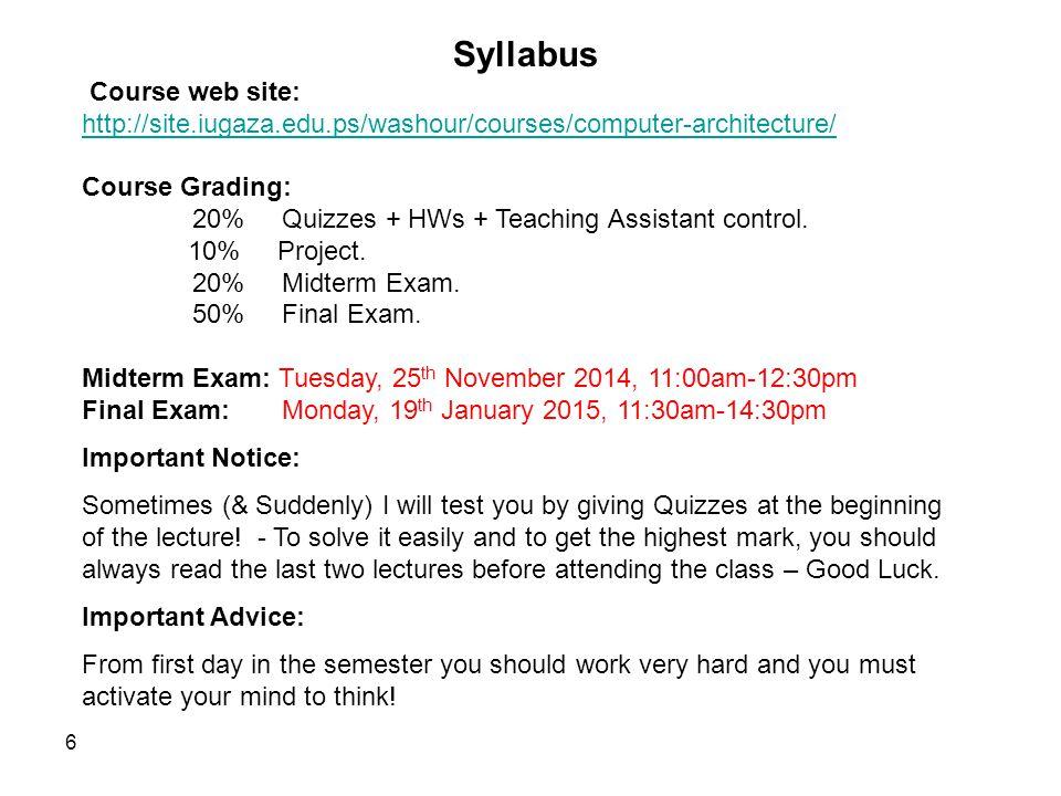 Syllabus Course web site: