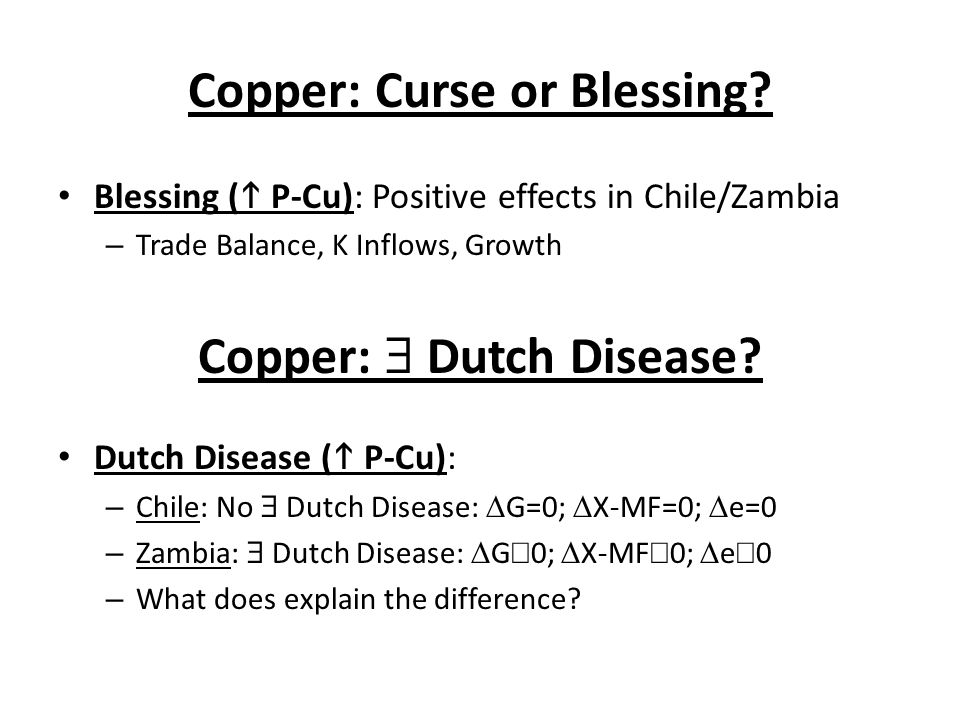 Copper: Curse or Blessing
