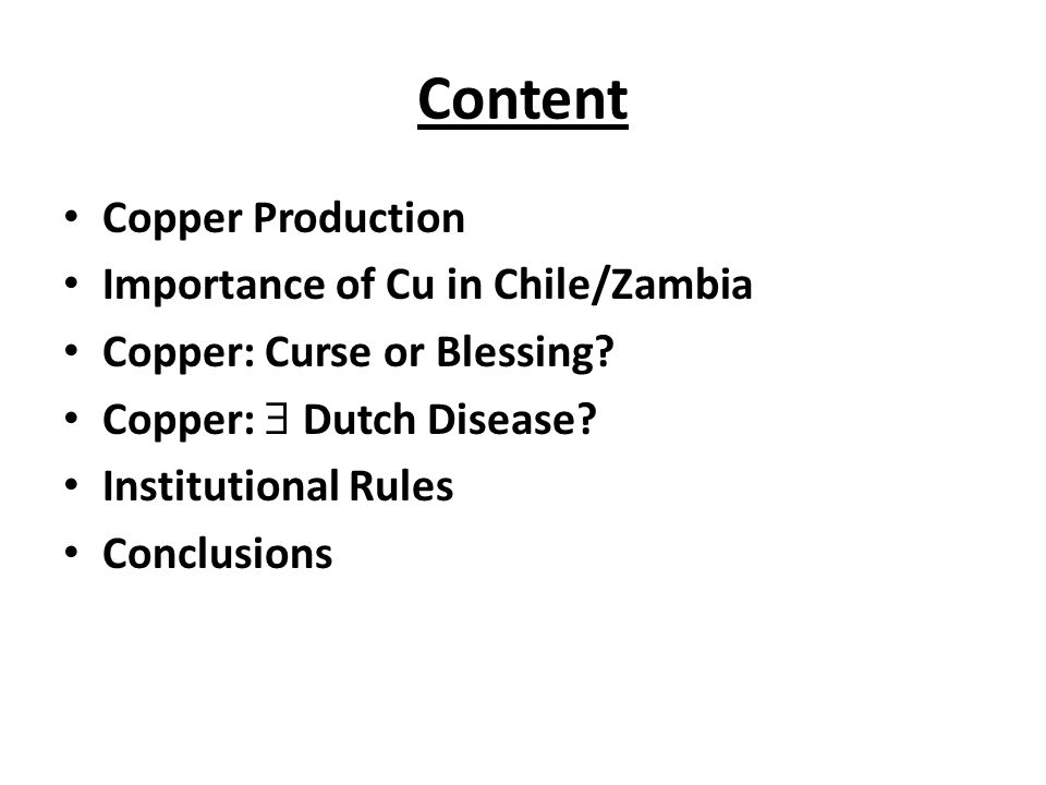 Content Copper Production Importance of Cu in Chile/Zambia
