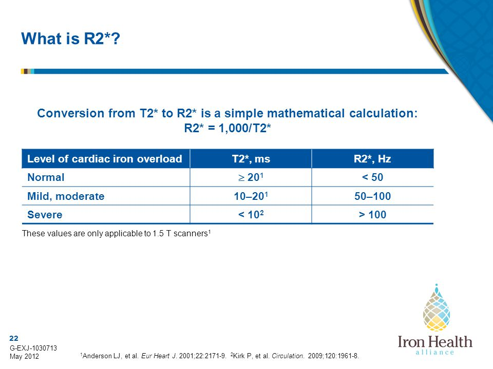 What is R2* Conversion from T2* to R2* is a simple mathematical calculation: R2* = 1,000/T2* Level of cardiac iron overload.