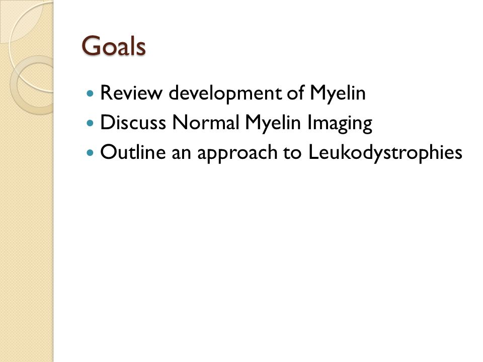 Goals Review development of Myelin Discuss Normal Myelin Imaging